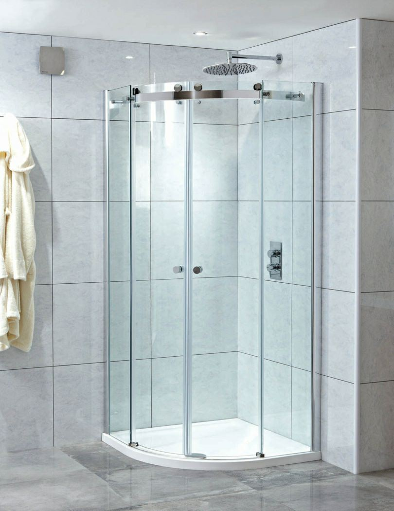 Phoenix motion frame less twin door shower quadrant 1000mm for Door quadrant