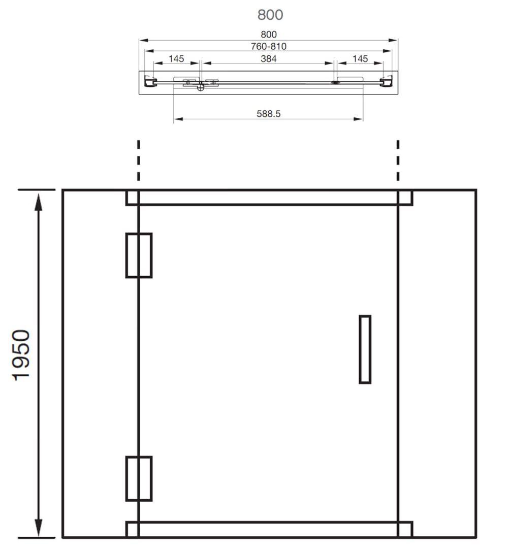 Aquadart Inline 800mm Recess Hinged Shower Door Aq1018