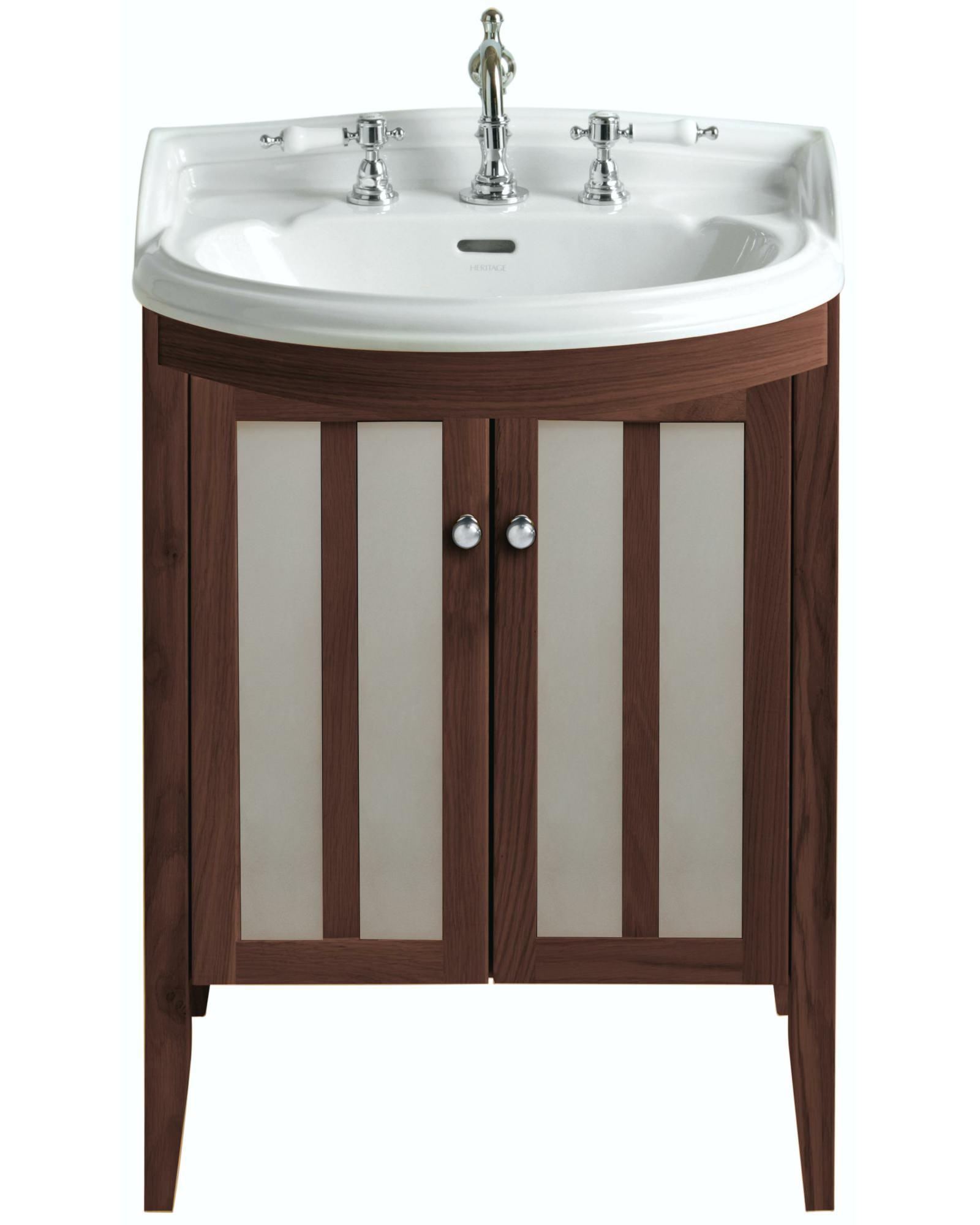Heritage Bathroom Vanity: Heritage Hidcote Freestanding Bowfront Medium Walnut