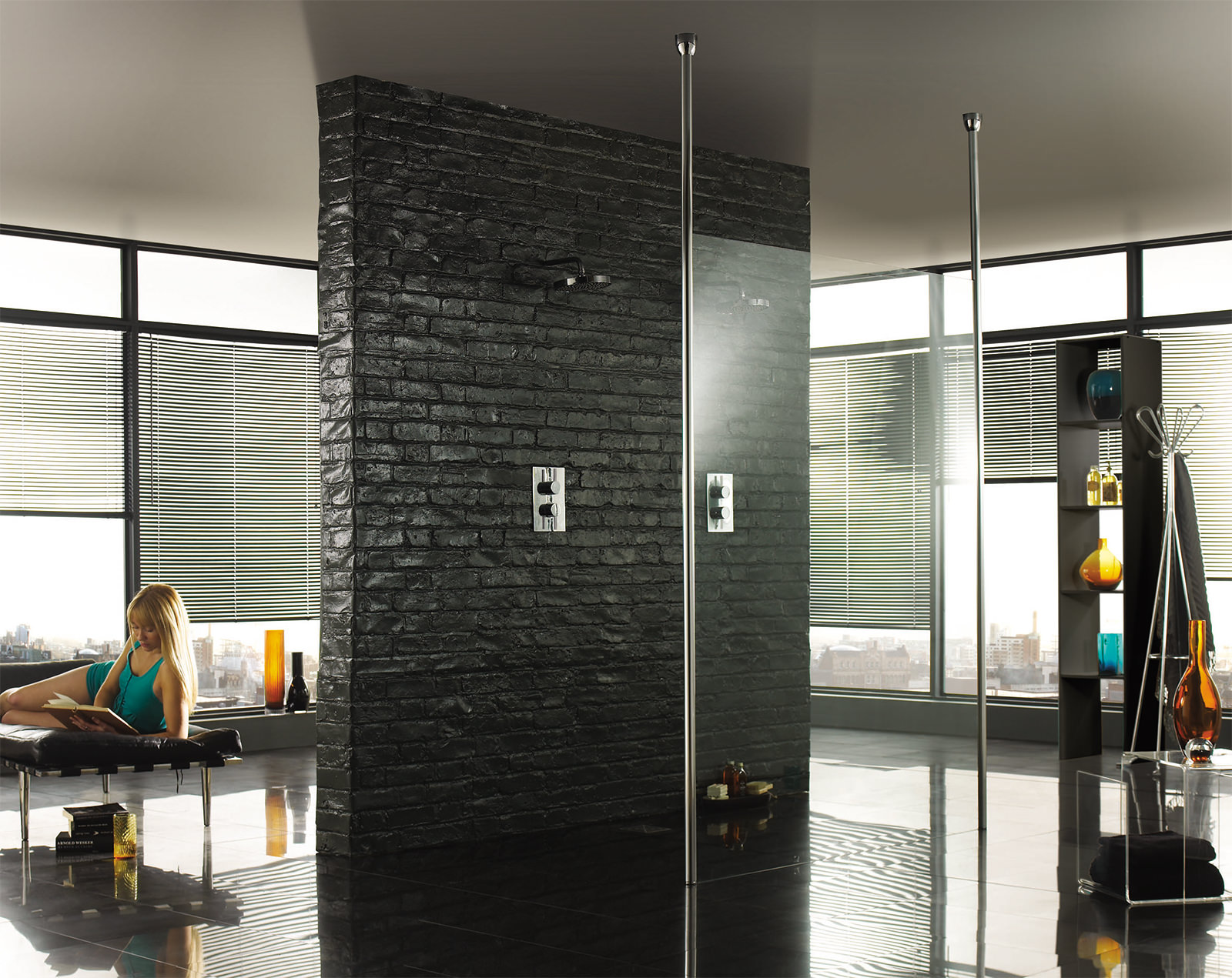 Aquadart 3000mm floor to ceiling post for wetroom glass for Floor to ceiling glass panels