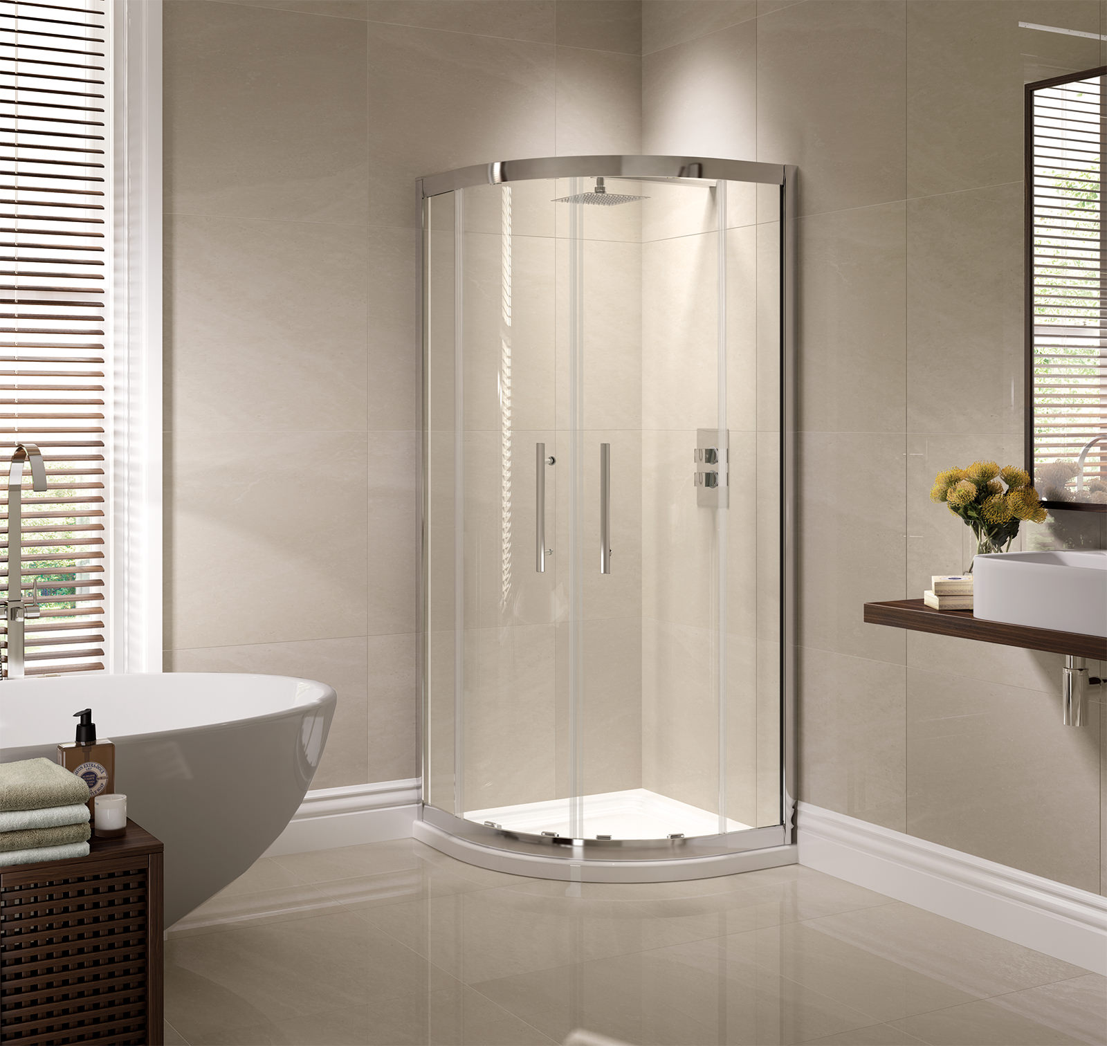 April Prestige 1000 X 800mm Double Door Offset Shower
