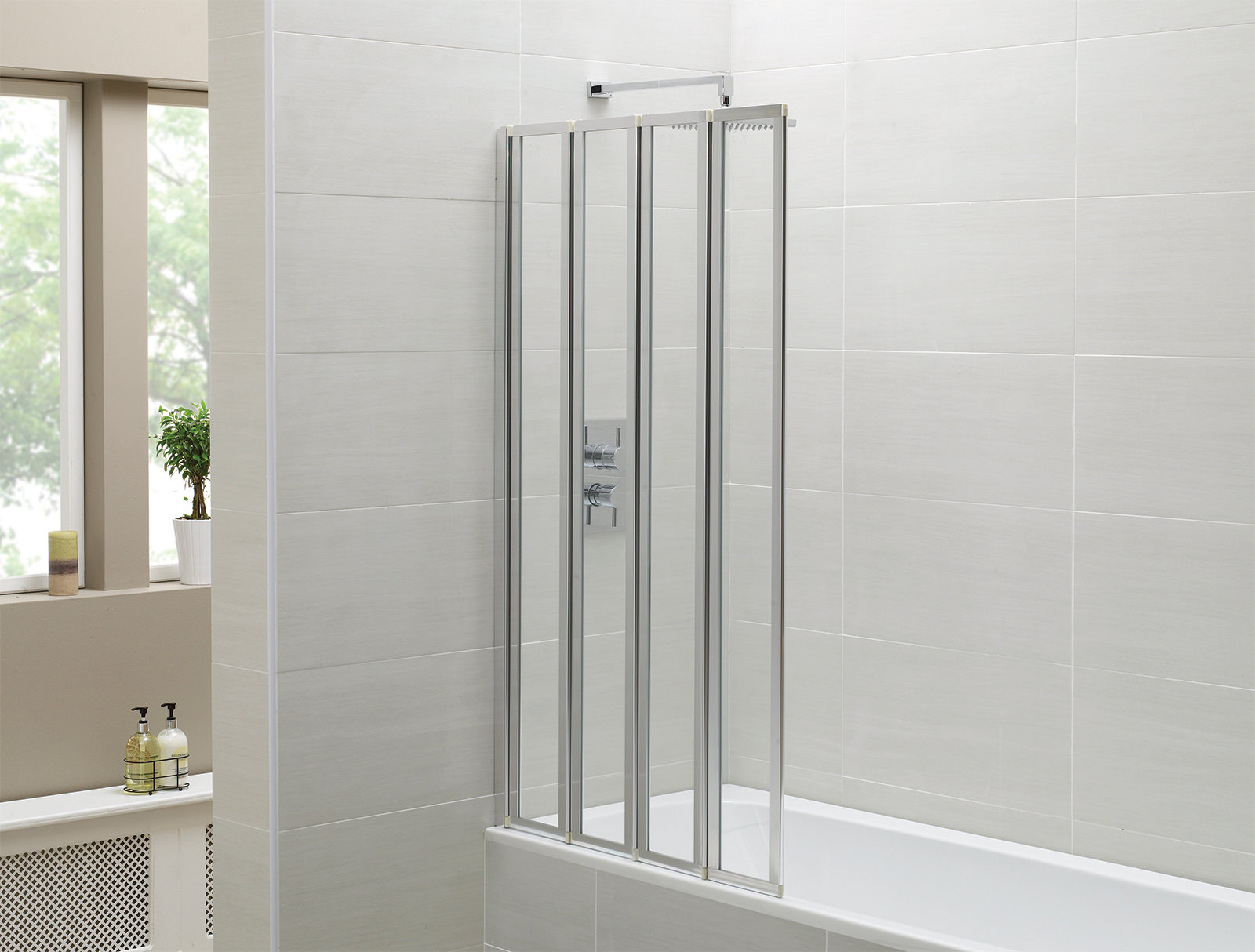 April Identiti2 800 X 1400mm 4 Fold Bath Screen