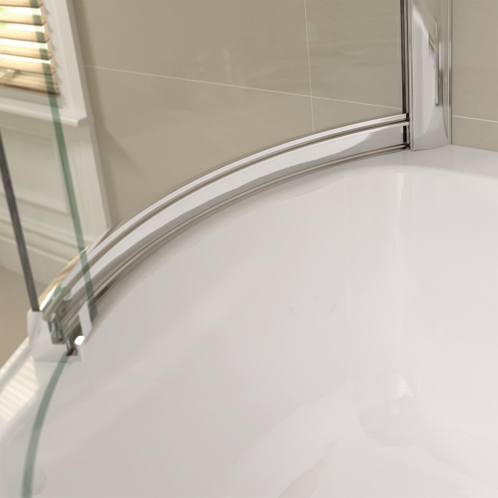 April Prestige 984 X 1500mm P Shaped Sliding Bath Screen