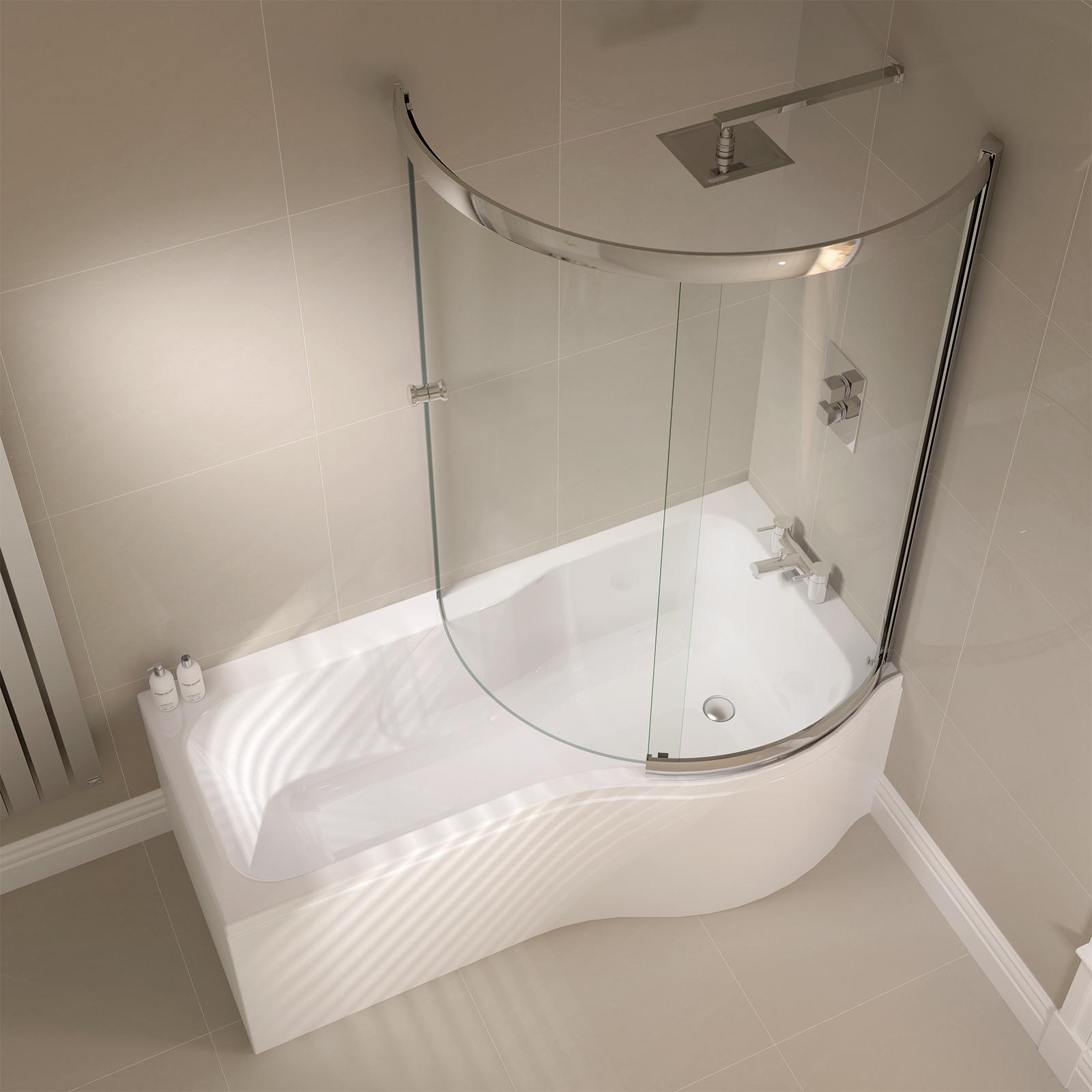 Additional Image Of April Prestige 984 X 1500mm P Shaped Sliding Bath Screen