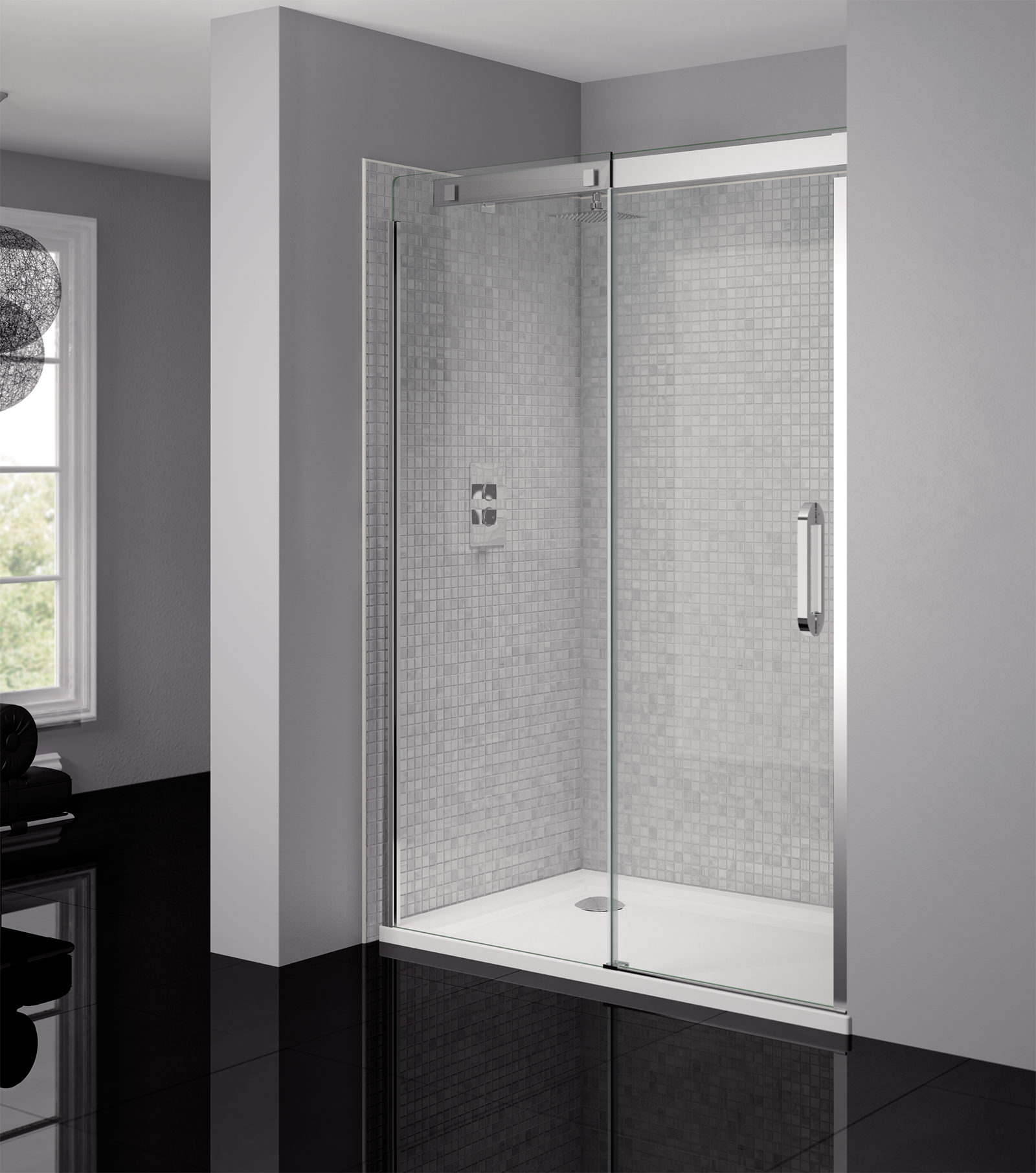 April Prestige Frameless 1200mm Clear Silver Sliding