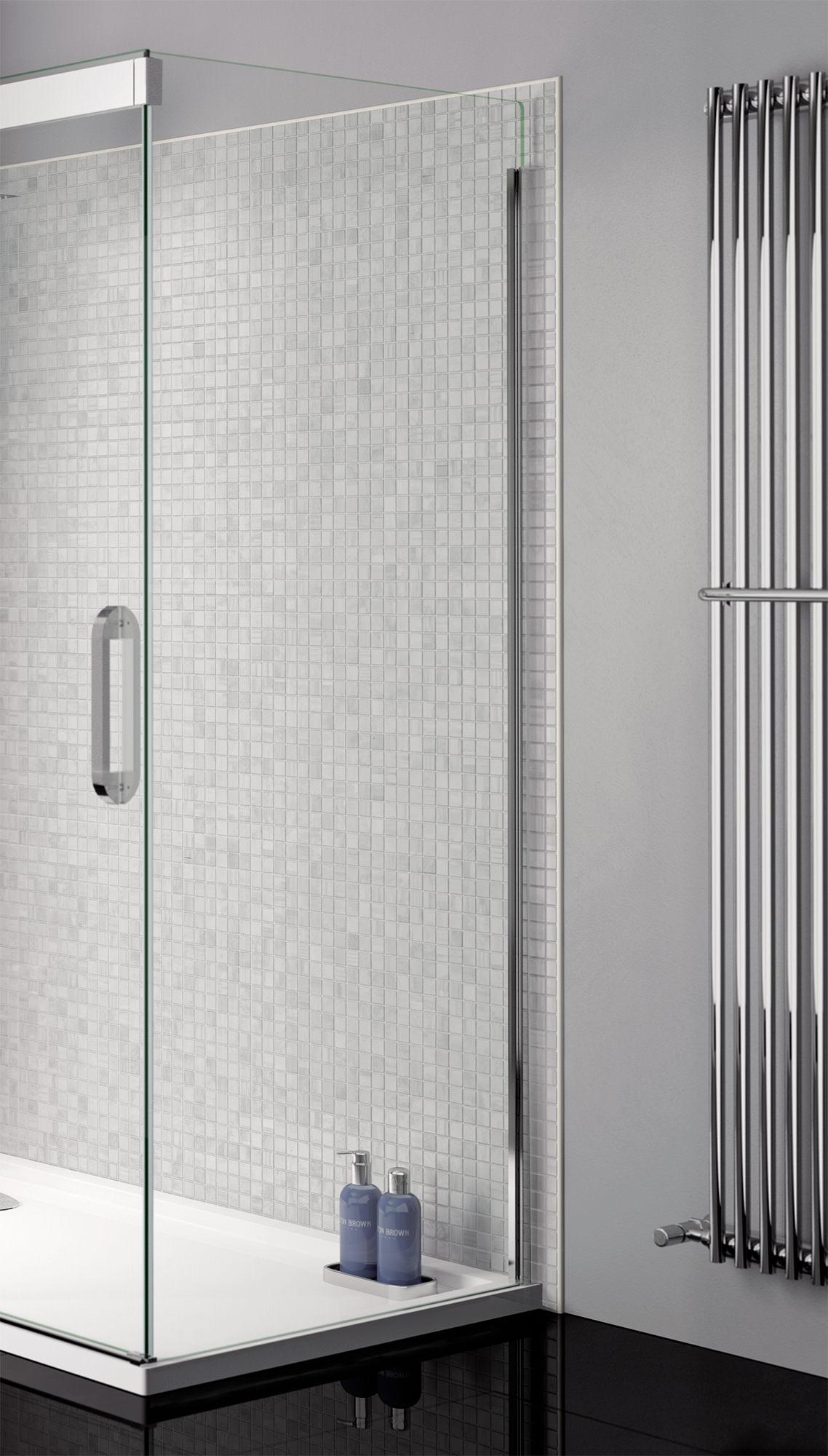 April Prestige Frameless 900mm Clear Silver Side Panel