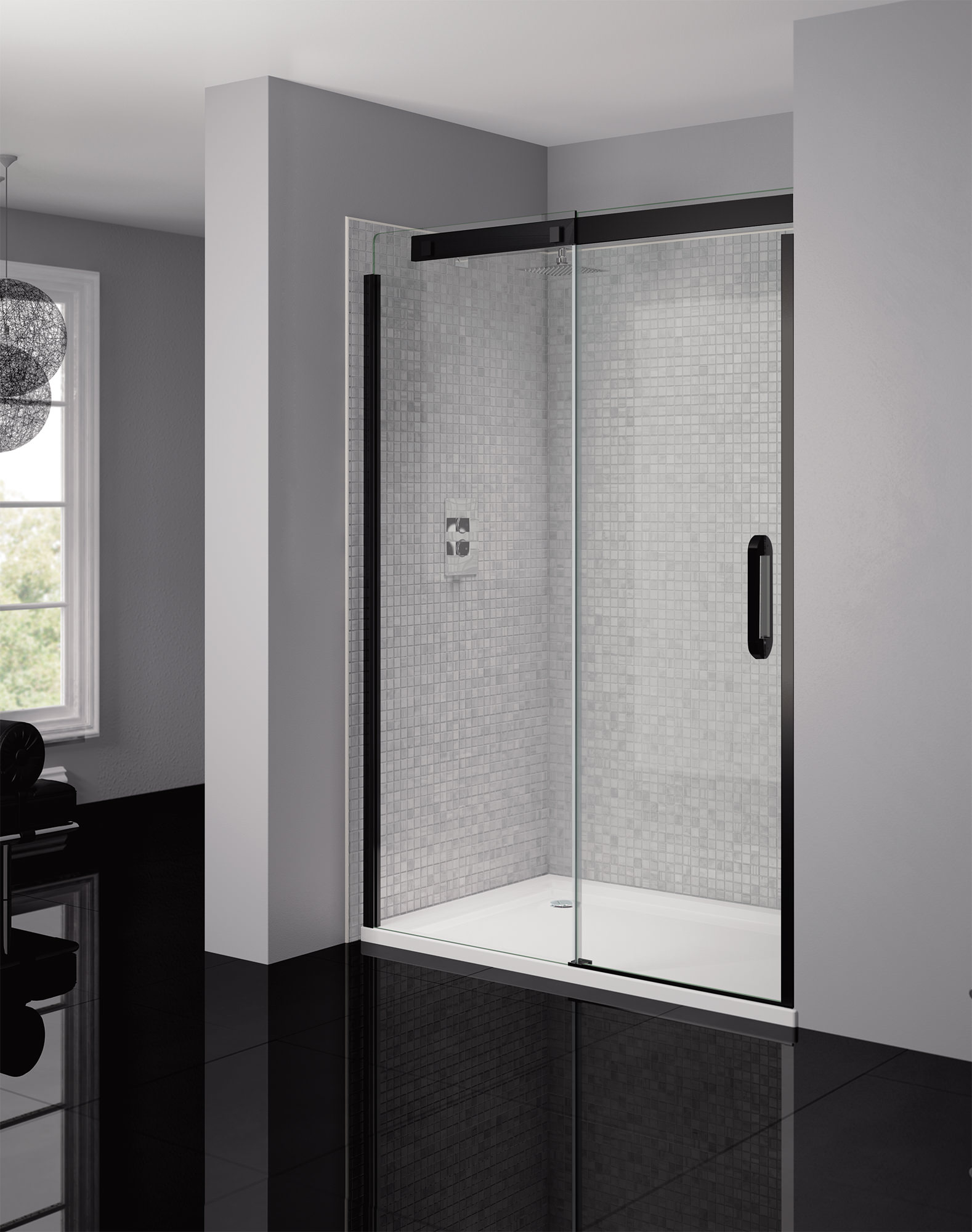 April Prestige Frameless 1400mm Clear Black Sliding