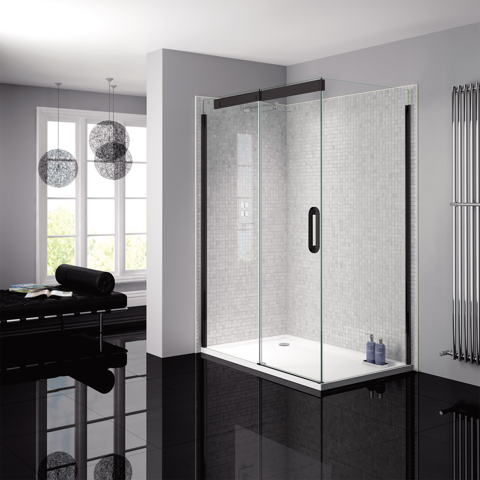 April Prestige Frameless 1200mm Clear Black Sliding