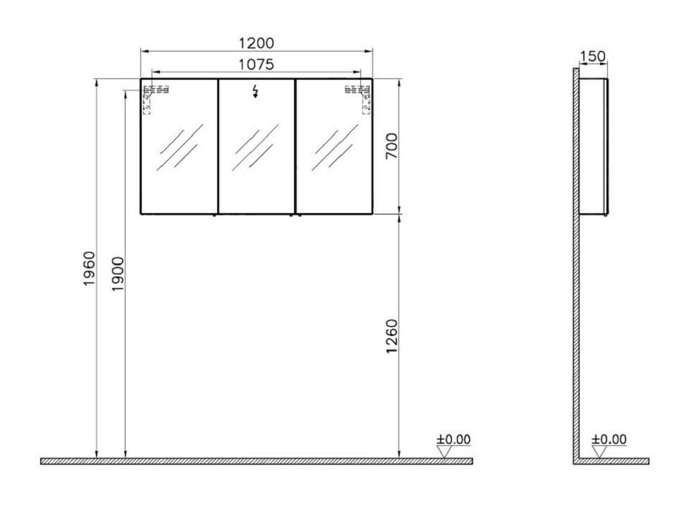 vitra s50 classic 1200mm oak 3 door mirror cabinet 58284