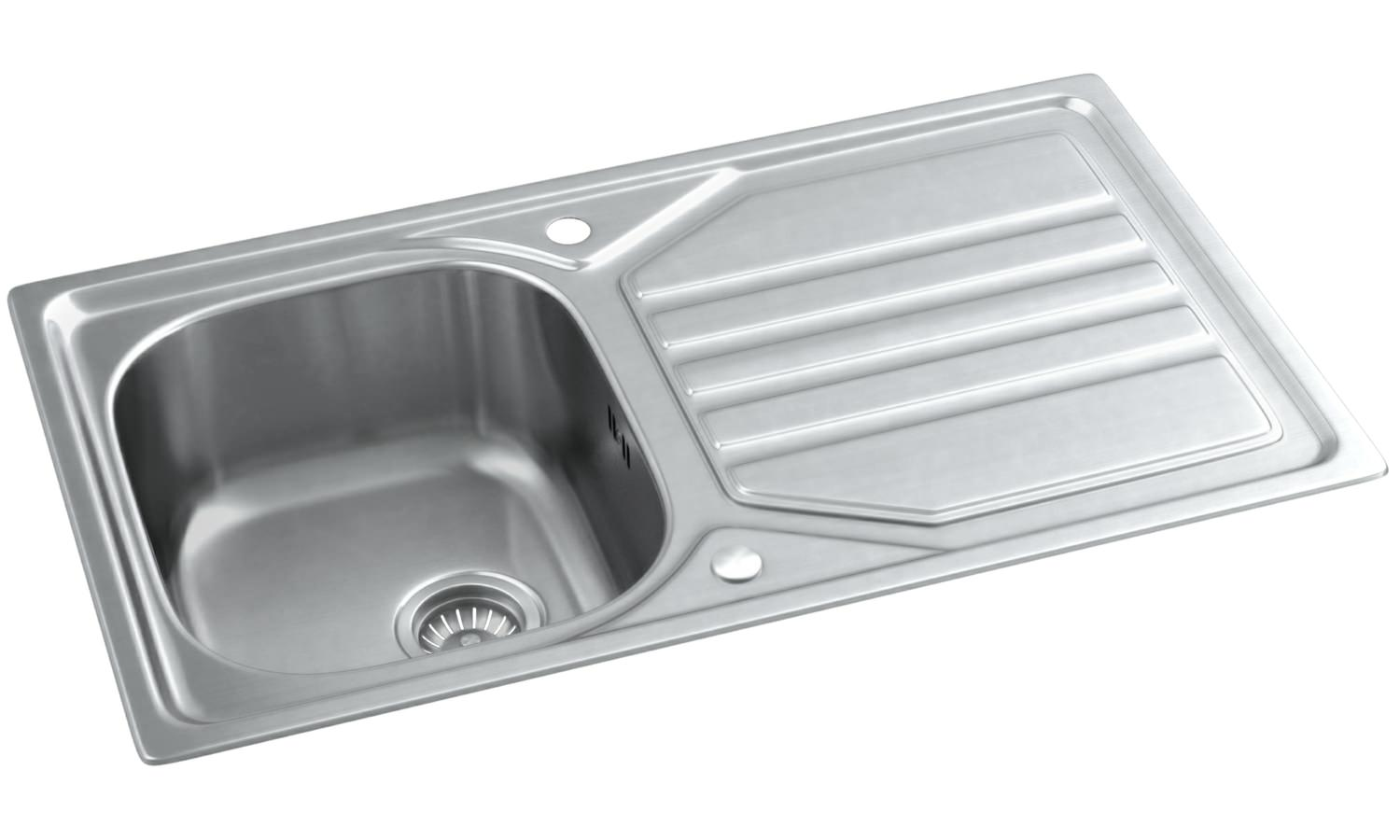 abode mikro stainless steel 1.0 bowl kitchen sink with drainer