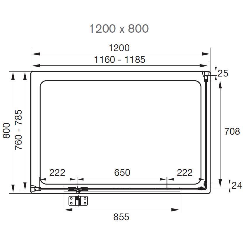 Aquadart Inline 1200 X 800mm 2 Sided Hinged Shower Door