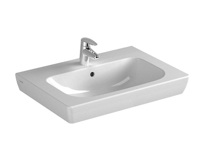 Wide Illuminated Bathroom Mirror With Backlit Effect For Double Or Wide Basins: VitrA S20 Single Tap Hole Vanity Basin 650mm Wide