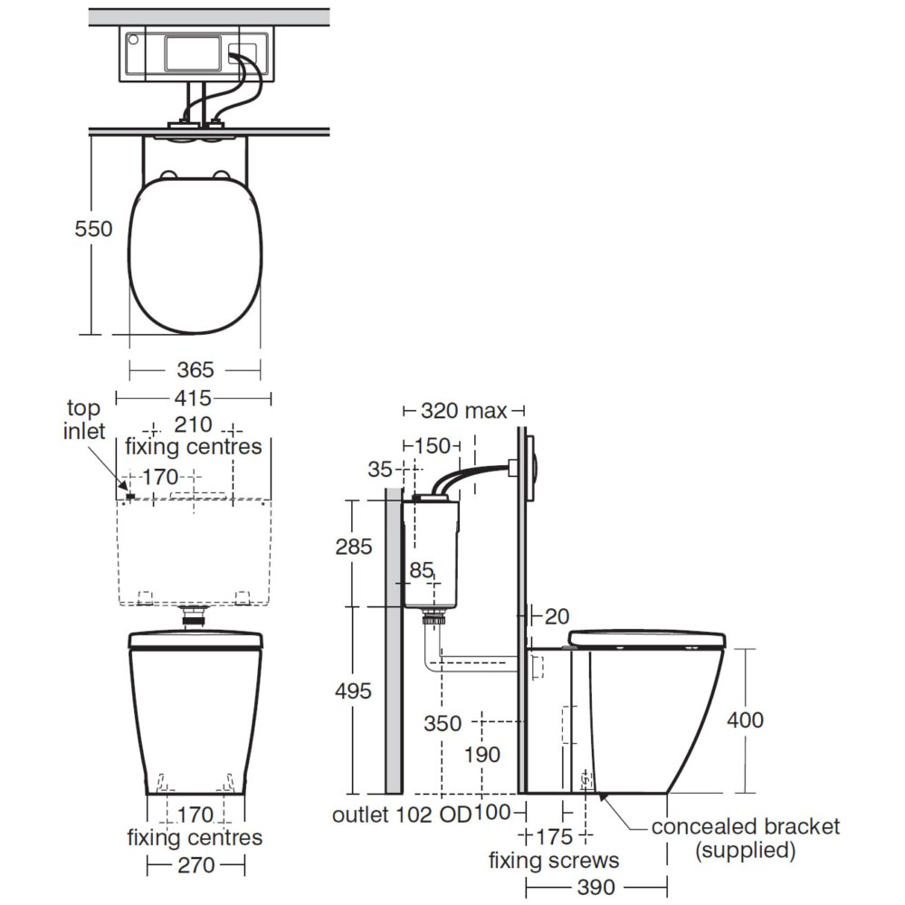 ideal standard concept back-to-wall wc pan 550mm