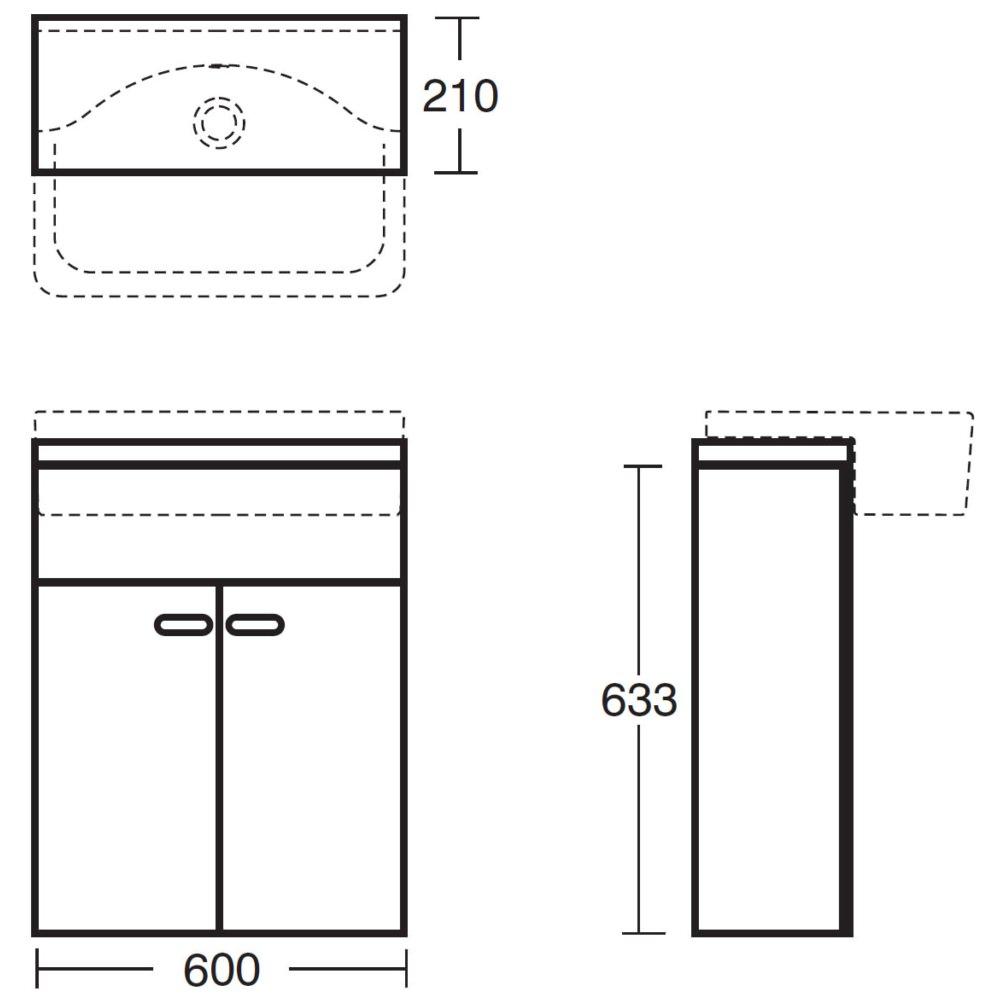Countertop Height Code : Ideal Standard Concept Slimline Semi countertop Vanity Unit 600mm