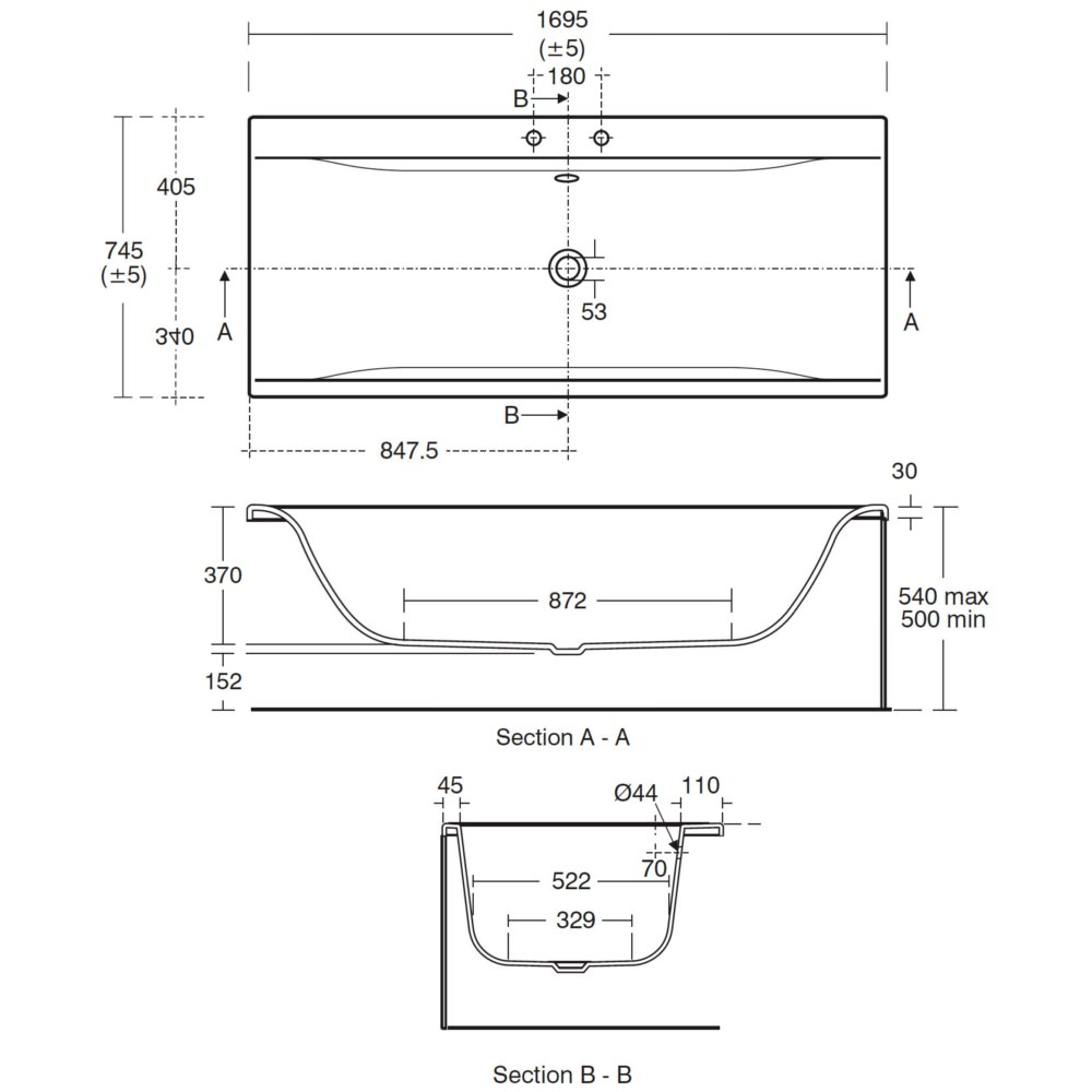 Ideal Standard Concept 1700 X 750mm Double Ended Bath