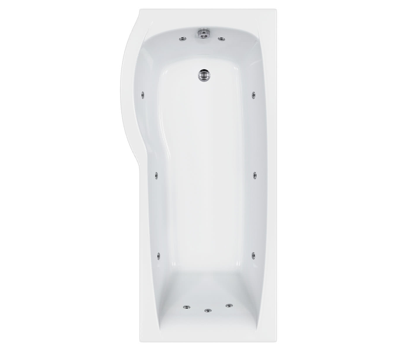 carron delta 11 jets whirlpool shower bath 1600 x 800mm