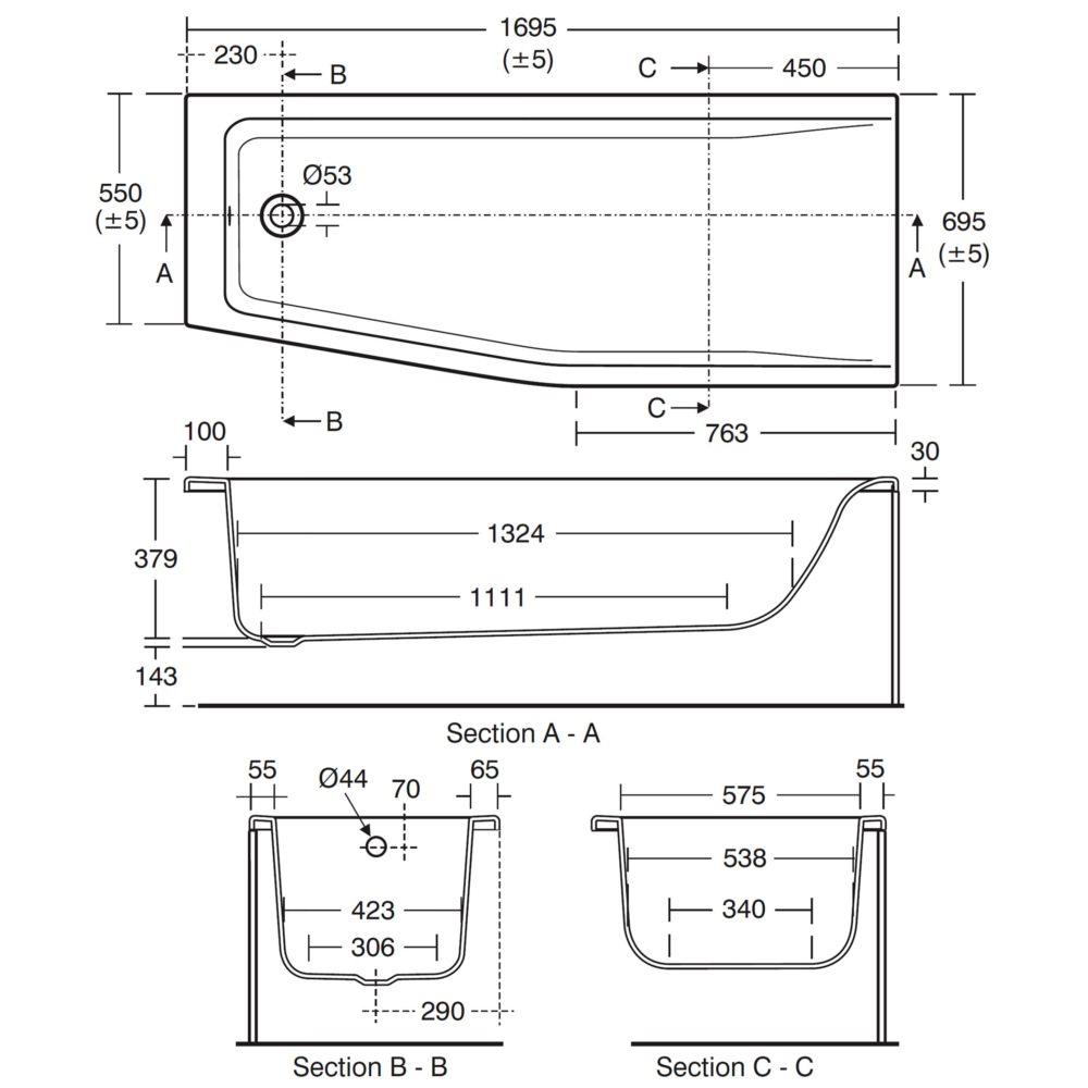 ideal standard concept spacemaker 1700mm left handed bath ideal standard concept spacemaker 1700mm left handed bath technical drawing qs v26680 e049901