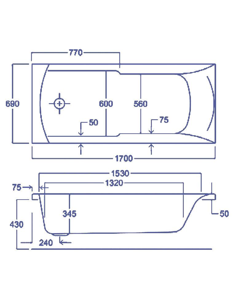 Carron Axis Single Ended 5mm Acrylic Bath 1700 X 700mm Q4 02037