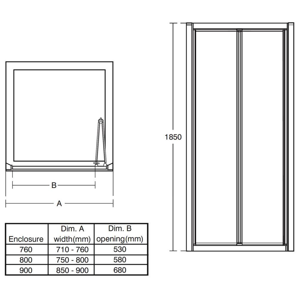 Ideal Standard Connect 900mm Bifold Shower Enclosure Door