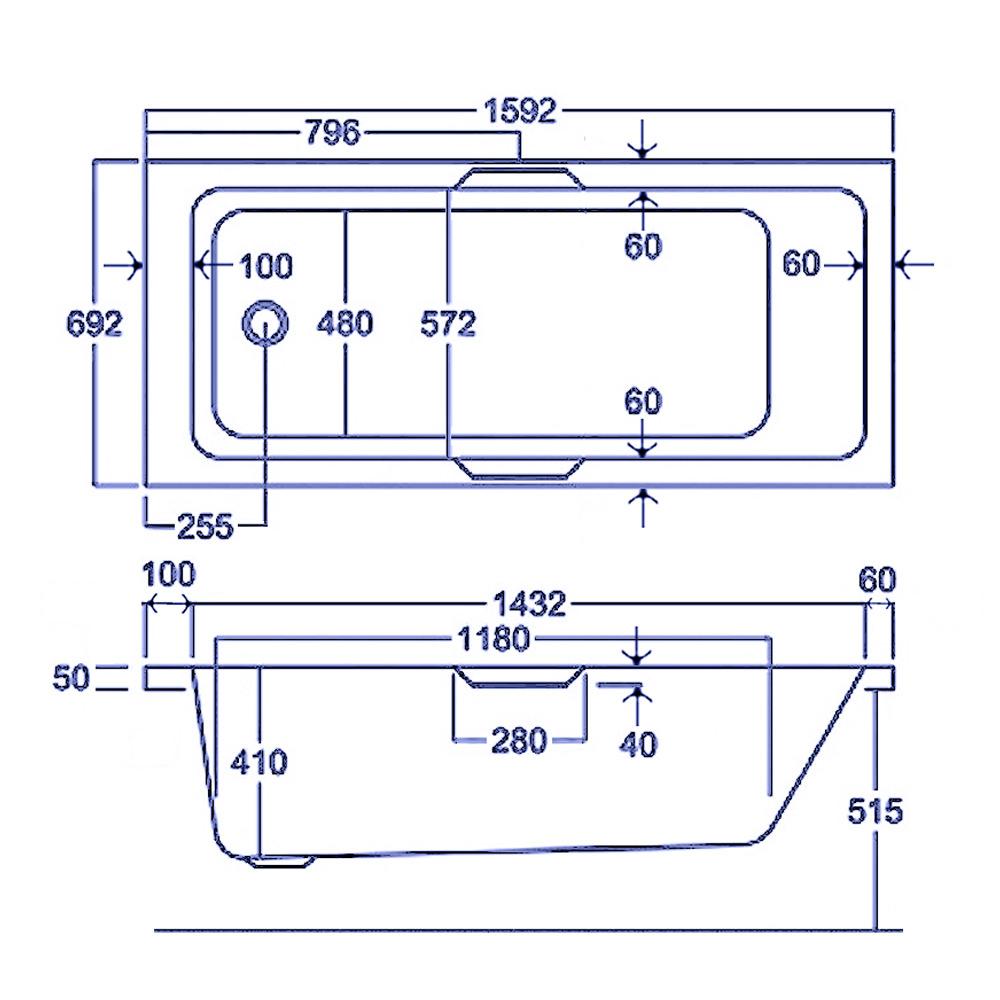Carron Quantum Integra Single Ended 5mm Acrylic Bath 1600