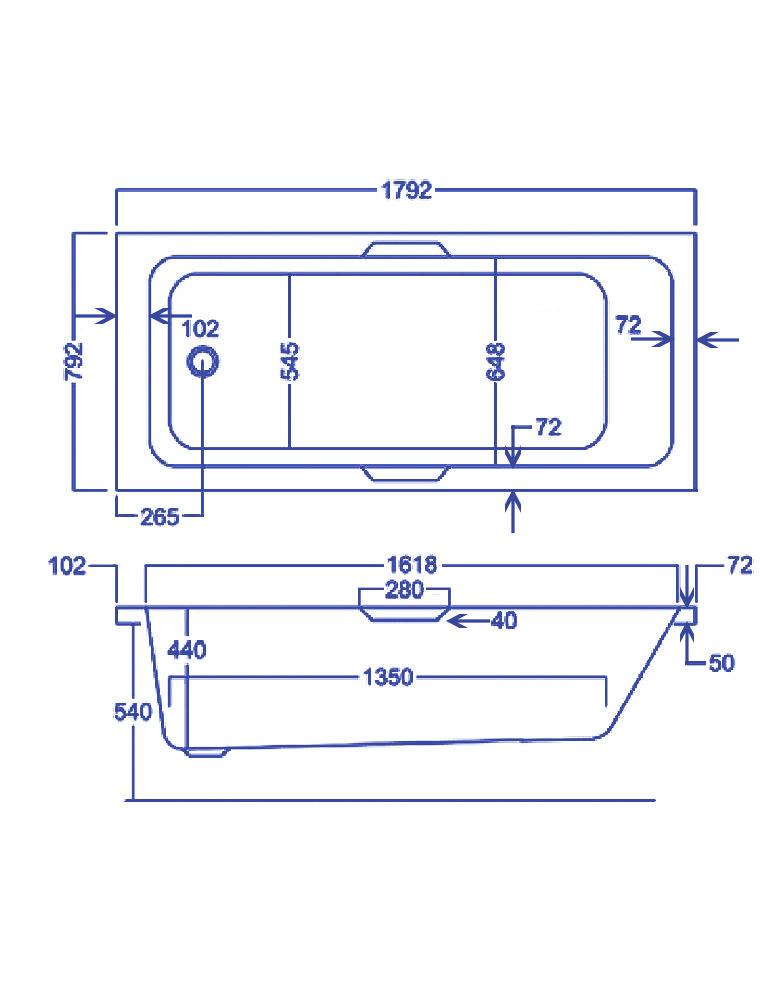 Carron Quantum Integra 5mm Acrylic Single Ended Bath With