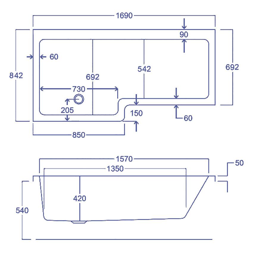 Carron Quantum Left Handed Square Shower Bath 1700 X 850mm