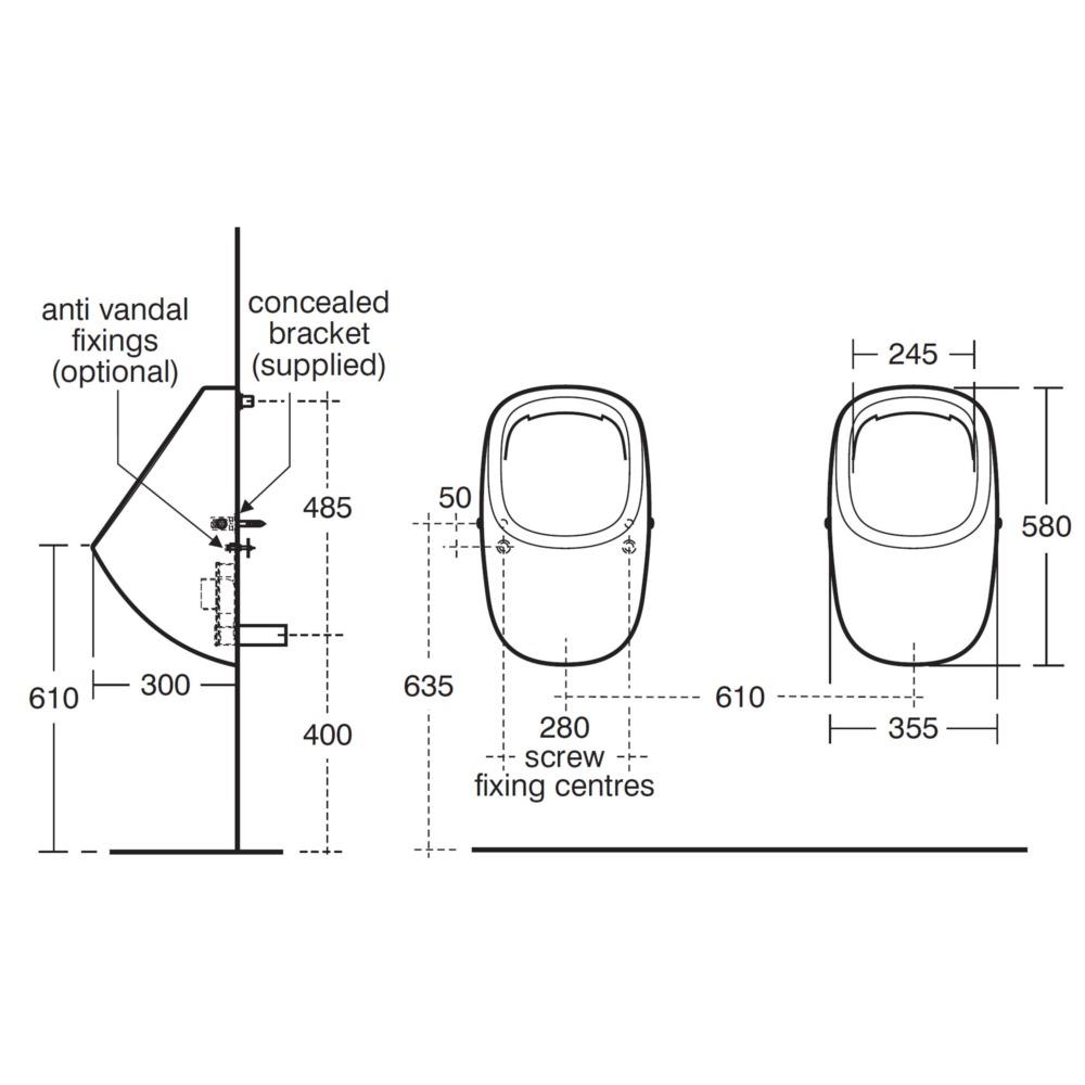 ideal standard jasper morrison 355mm rim flush urinal e621501. Black Bedroom Furniture Sets. Home Design Ideas