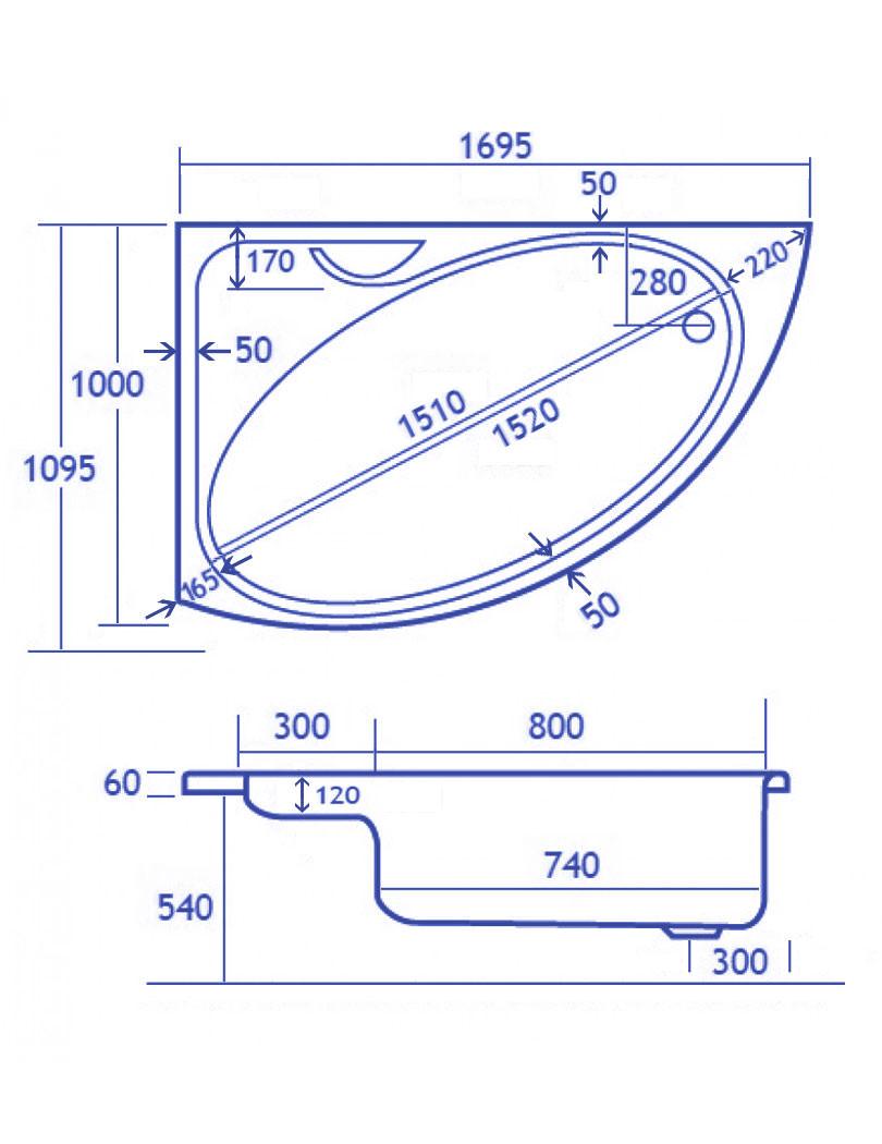 carron swan offset corner right hand bath 1700 x 1000mm offset corner bath
