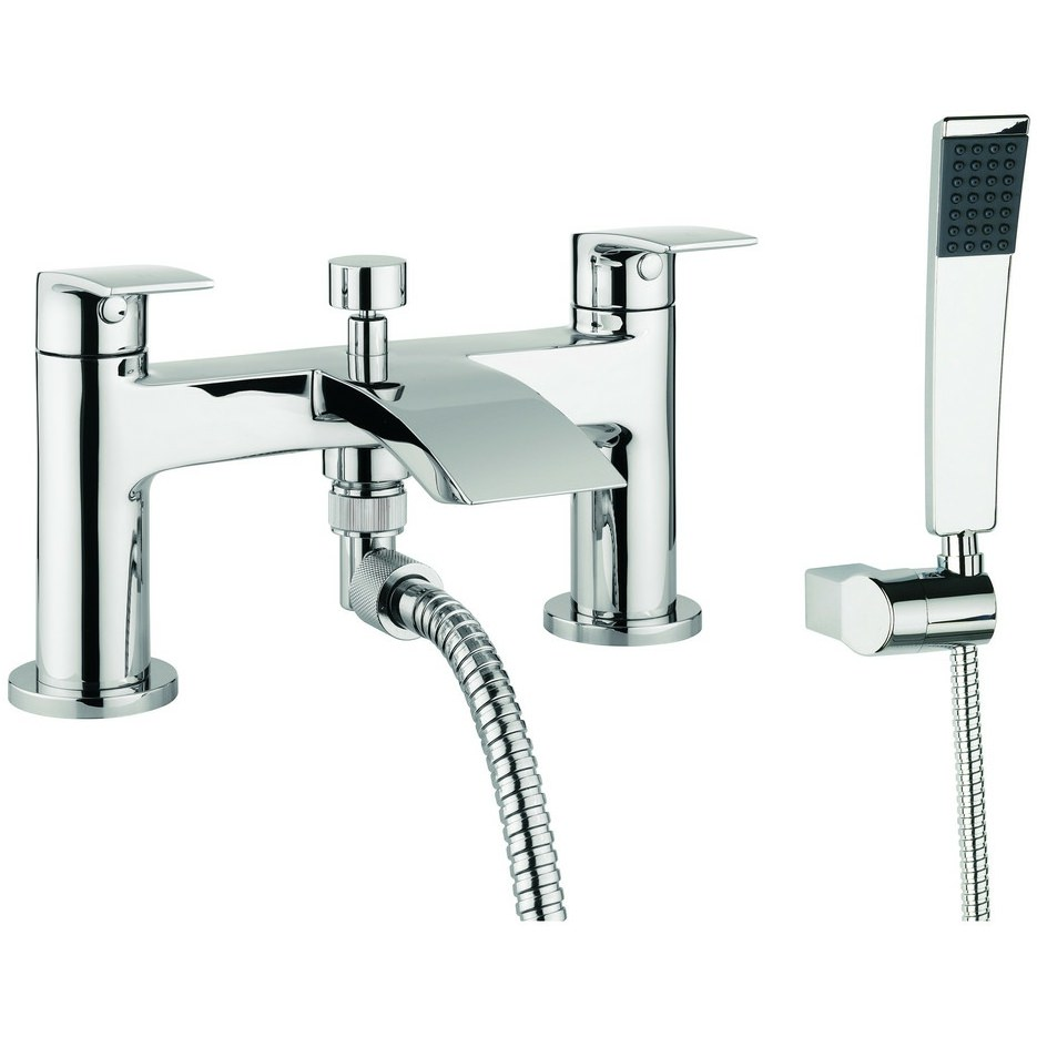 Crosswater Cone Dual Lever Deck Mounted Bath Shower Mixer Tap With Kit Mbfw422d
