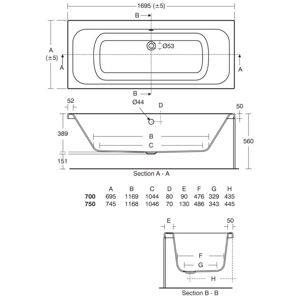 Ideal Standard Softmood Idealform Plus Double End Bath