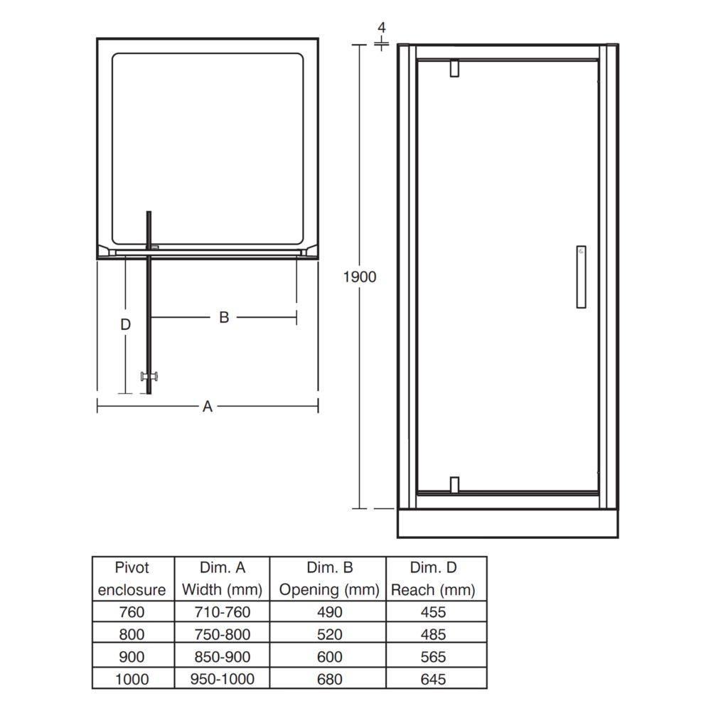 Ideal Standard Synergy Pivot Corner Alcove Shower Door 760mm