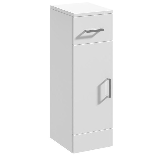 Beo floor standing cabinet 250 x 330mm high gloss white for Floor standing mirrored bathroom cabinet