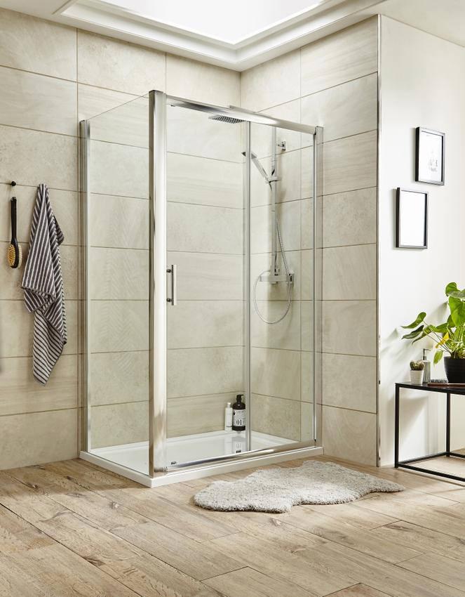 Lauren pacific 1700 x 1850mm single sliding shower door for 1700 shower door