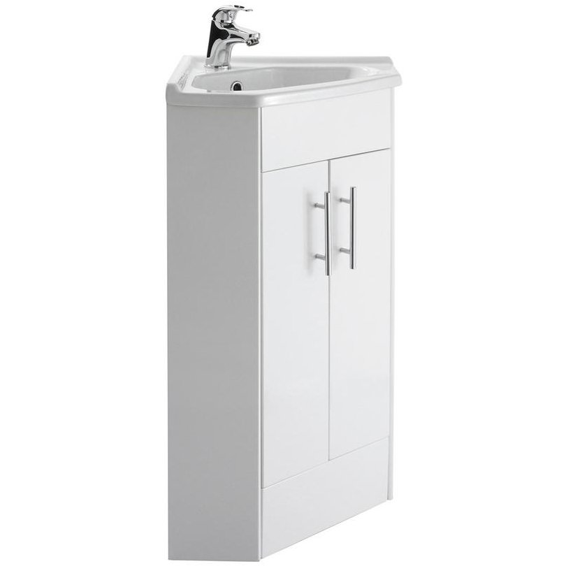 Beo 555 X 800mm Corner Vanity Unit And Basin High Gloss White
