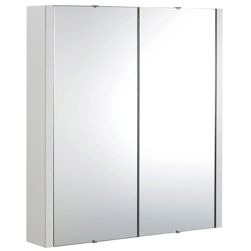 Lauren design high gloss white 600mm 2 door mirror cabinet for Bathroom cabinets 400mm high