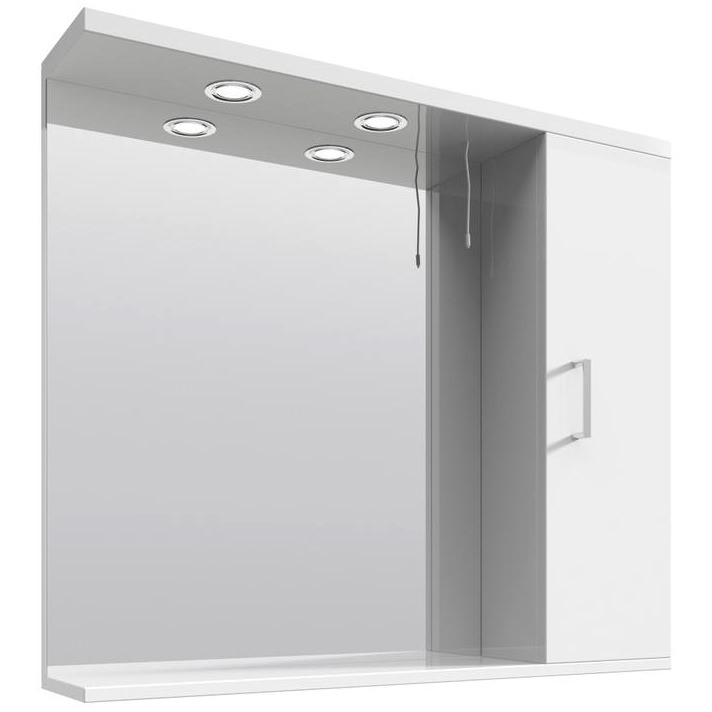 mayford high gloss white 850mm mirror cabinet with 21540