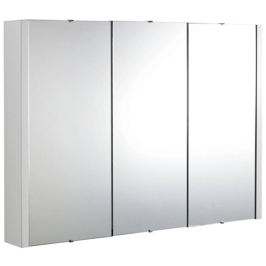 Premier Eden High Gloss White 900mm 3 Door Mirror Cabinet