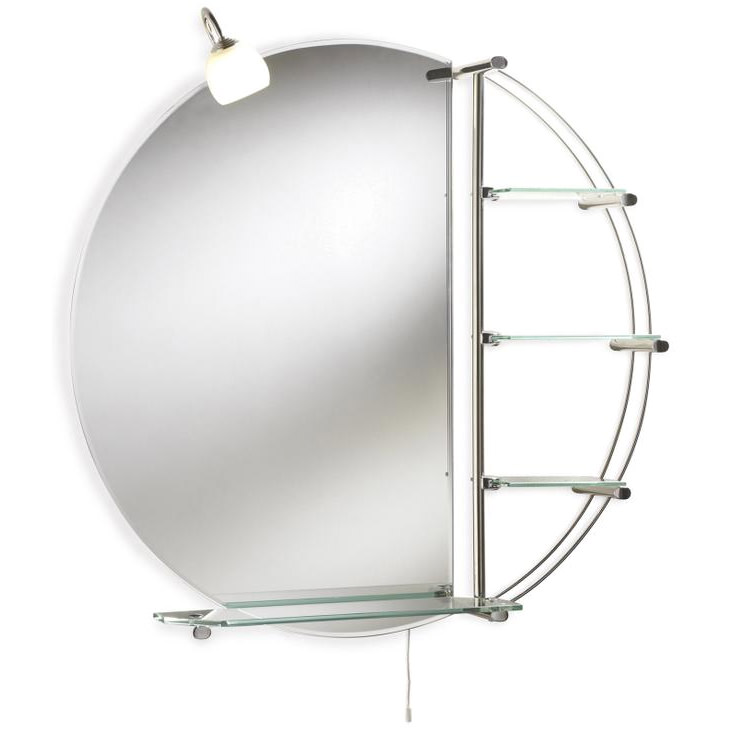 Lauren Magnum Chrome 800mm Round Mirror With Light And Shelves