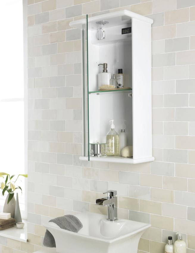 Lauren niche 400mm single door mirrored cabinet with light for Bathroom cabinets 400mm high