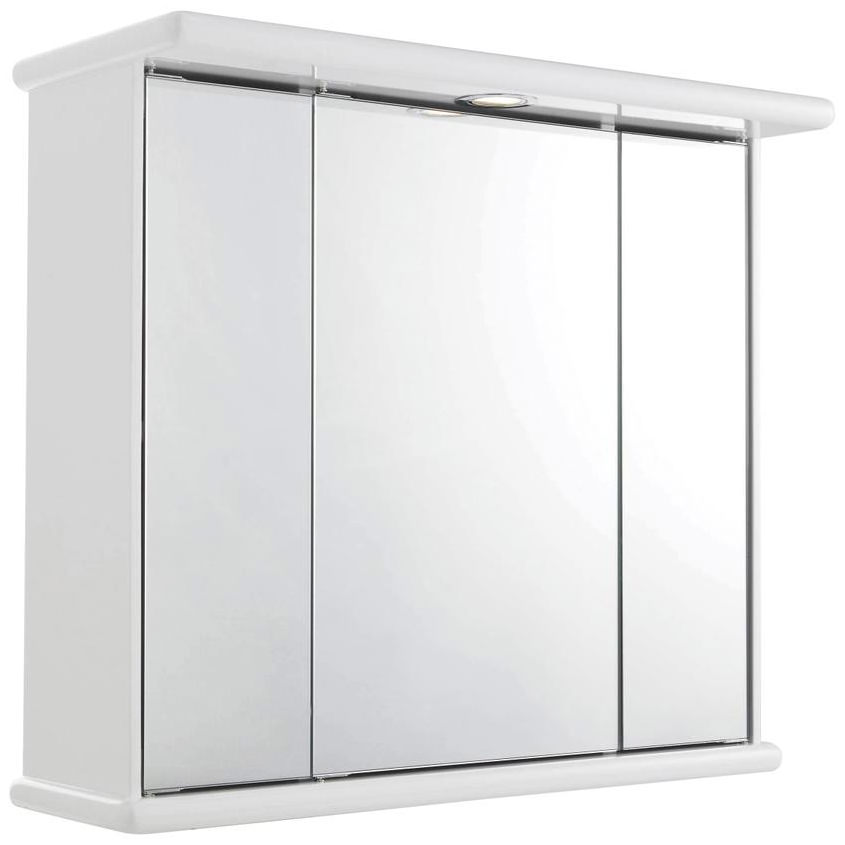 Lauren cryptic 700mm triple door mirrored cabinet with for Bathroom cabinets 700mm