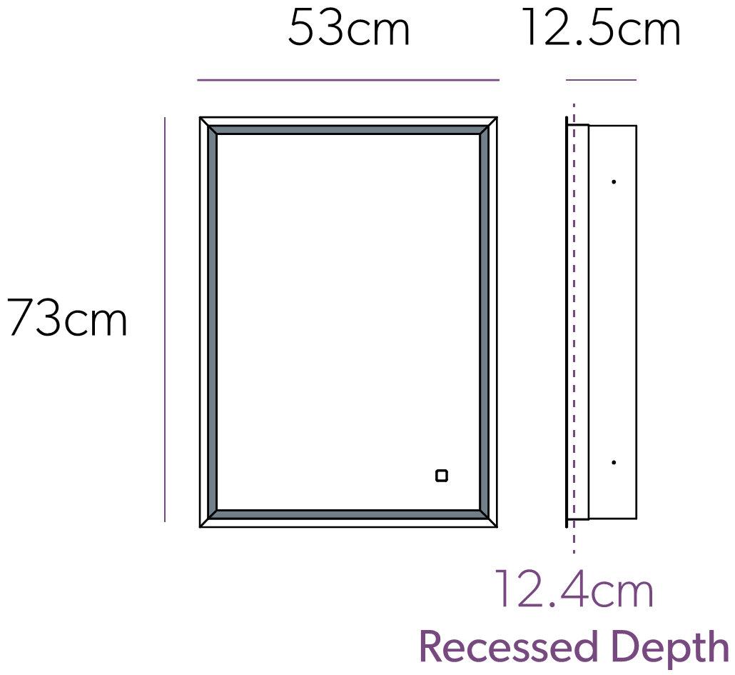 Kitchen cabinets 500mm depth - Hib Vanquish 50 Led Demisting Recessed Mirror Cabinet 530