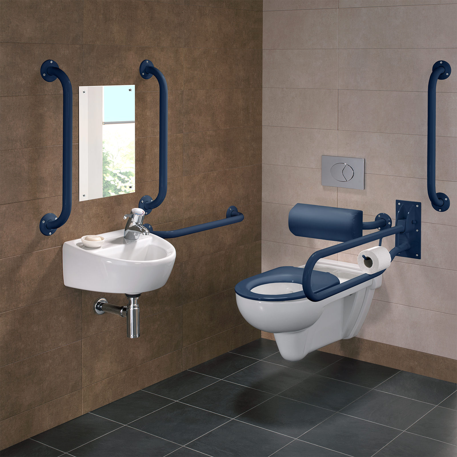 Twyford Doc M Rimless Wall Hung Wc Pack With Grab Rails