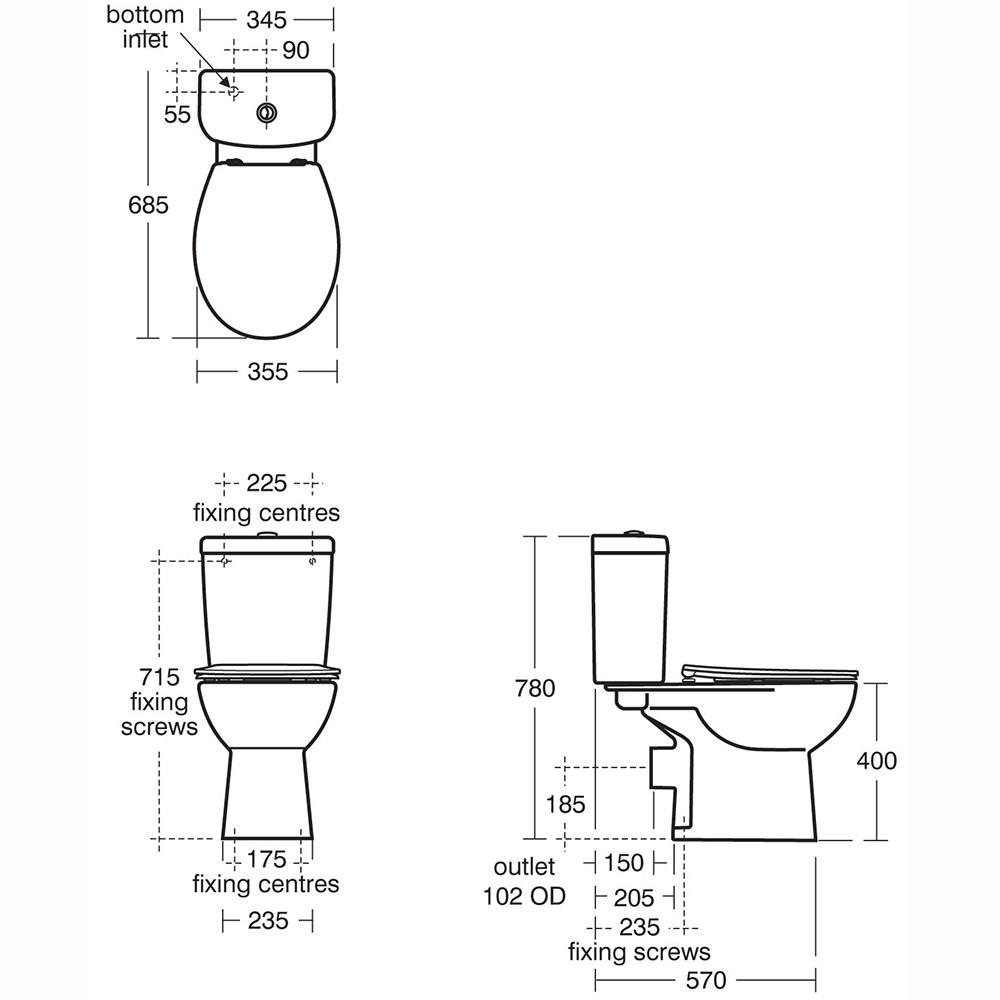 Led demister bathroom mirrors - Armitage Shanks Sandringham 21 Smooth Close Coupled Wc Pan