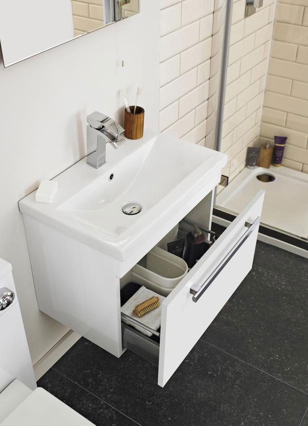 Lauren Design 500mm Gloss White Wall Hung Basin Cabinet ...