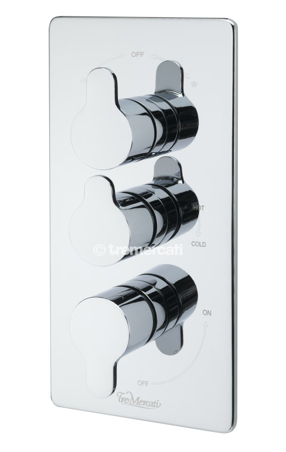 Tre Mercati Lollipop Concealed Thermostatic Shower Valve With 3 Way Diverter