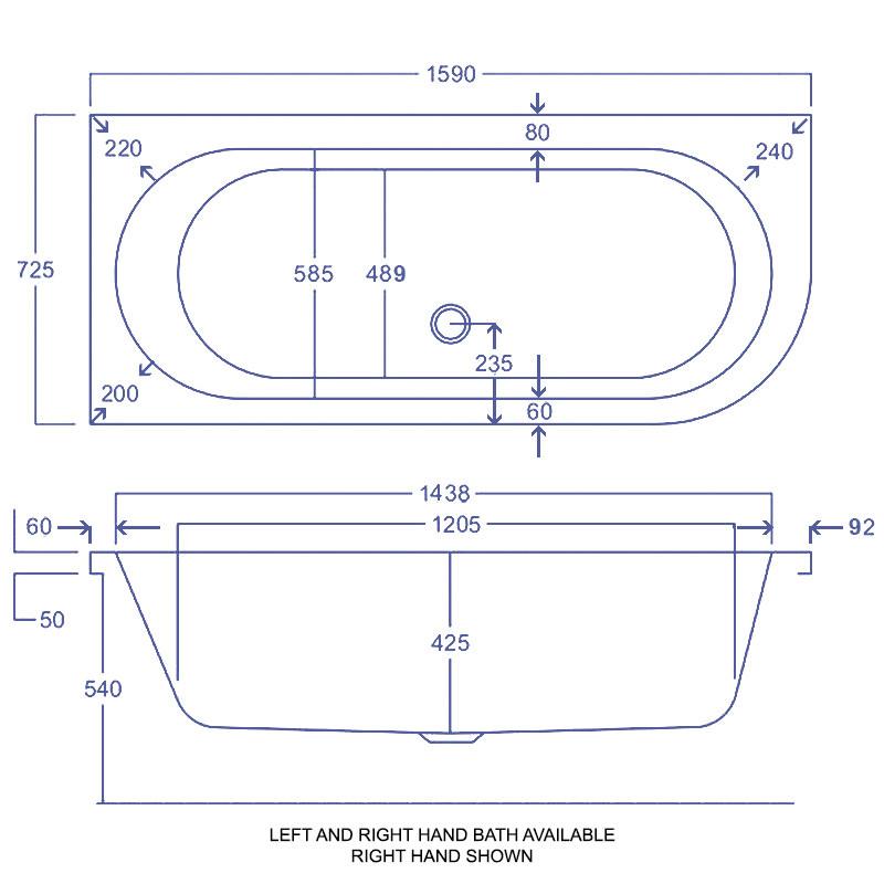 Carron Status 5mm Acrylic Double Ended Bath 1600 X 725mm
