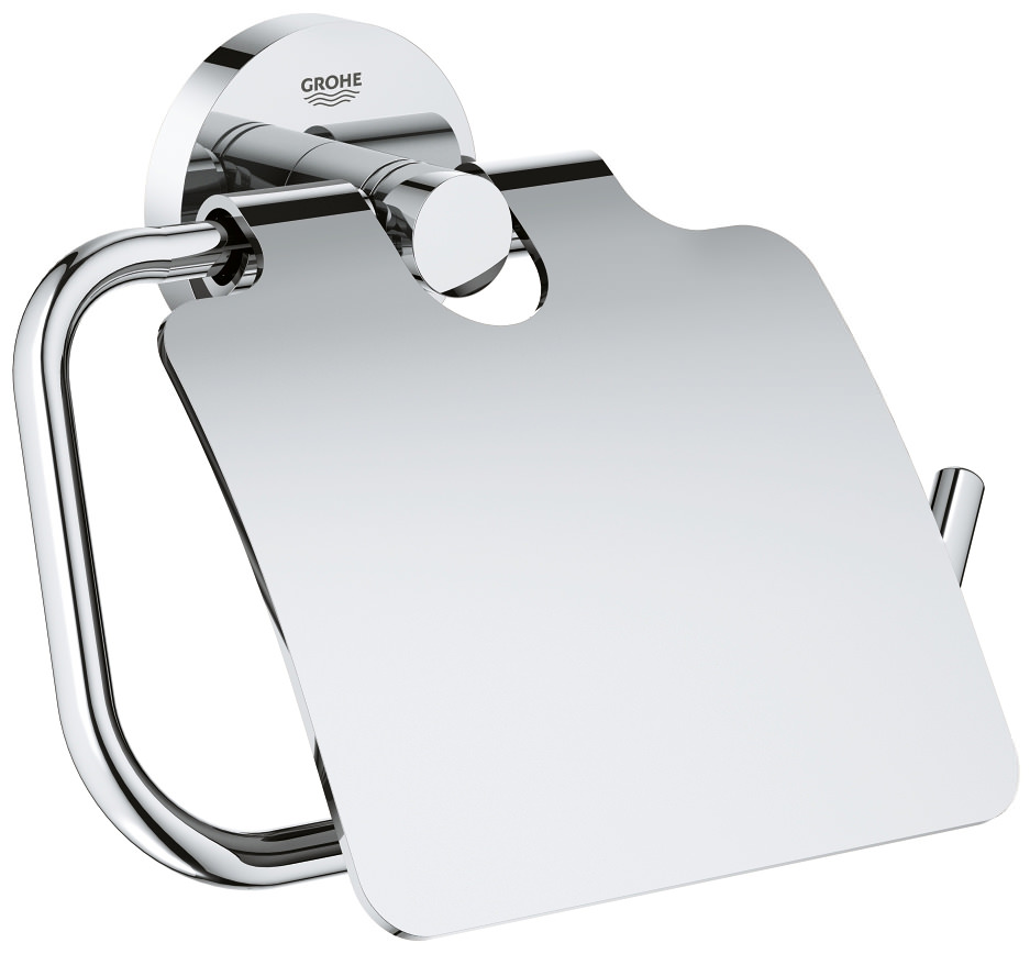 Grohe Essentials Chrome Toilet Roll Holder With Cover 40367001