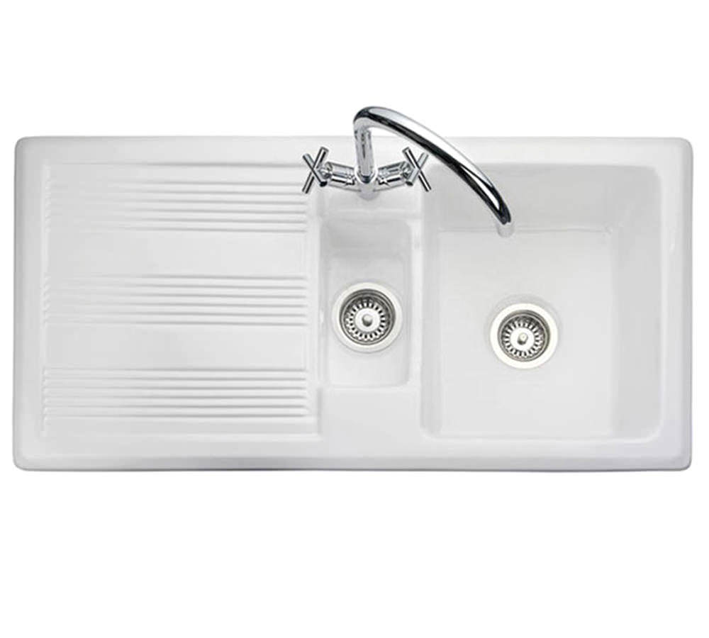 Rangemaster Portland 1.5 Bowl White Ceramic Kitchen Sink