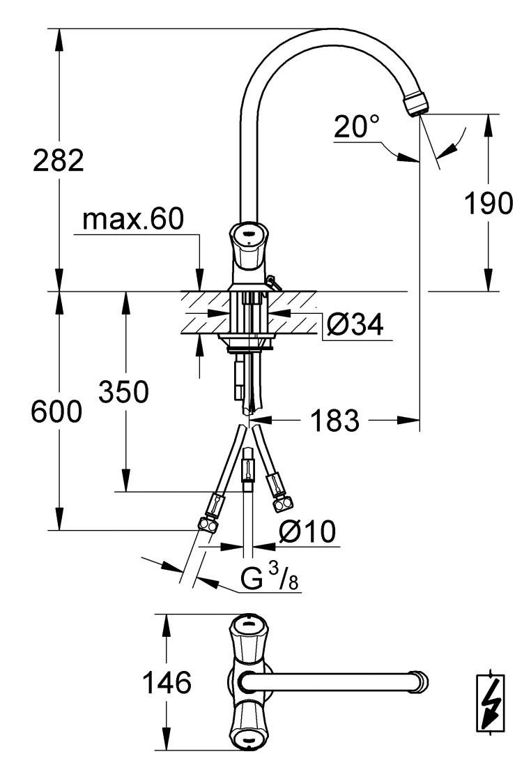 grohe costa l kitchen sink mixer tap 31930001. Black Bedroom Furniture Sets. Home Design Ideas