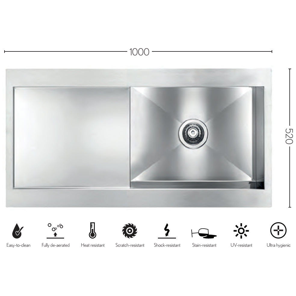 Crosswater Svelte 1000 x 520mm Stainless Steel 1.0 Bowl Inset ...